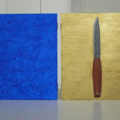 Sininen ja Punanen (1994, munatempera puulle, 2-21×17)