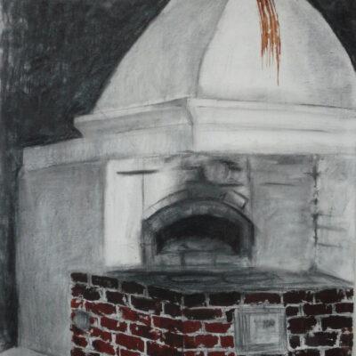 Uuni (2006, öljy ja hiili kankaalle, 92×73)